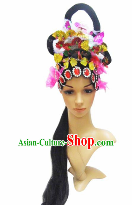 Chinese Traditional Wigs Ancient Beijing Opera Fairy Headwear and Wigs for Women
