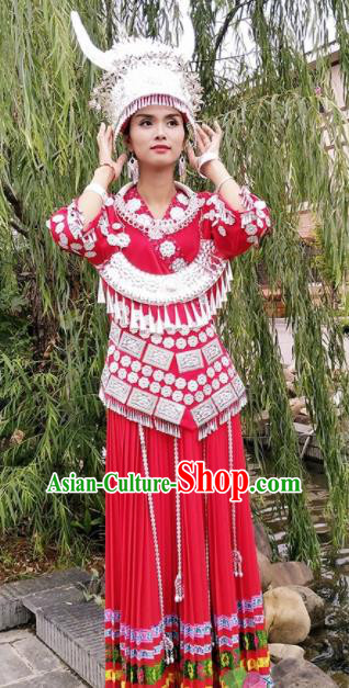 Chinese Traditional Miao Nationality Costume Hmong Bride Embroidered Red Dress and Headpiece for Women
