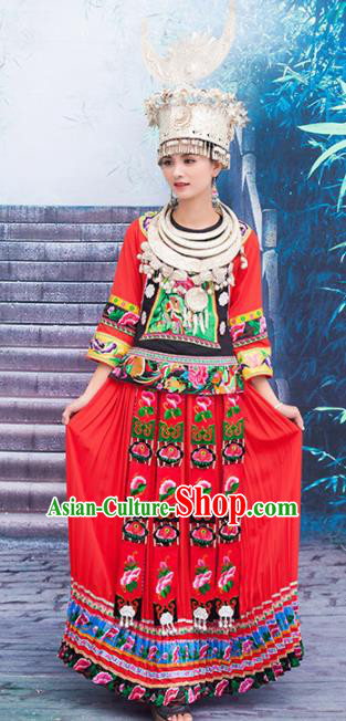 Chinese Traditional Miao Nationality Embroidered Red Costumes and Headpiece for Women