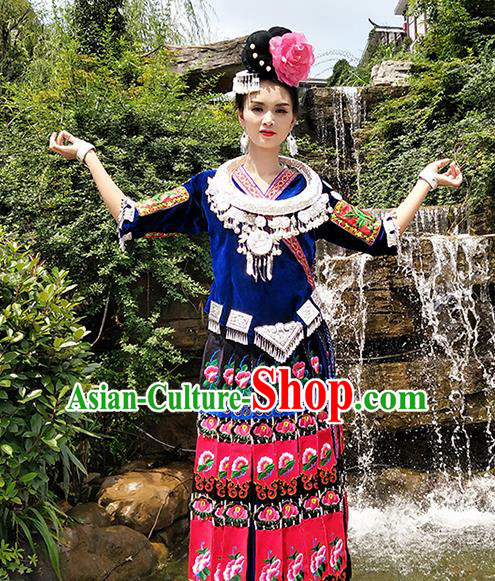 Chinese Traditional Miao Nationality Embroidered Blue Costumes and Headpiece for Women