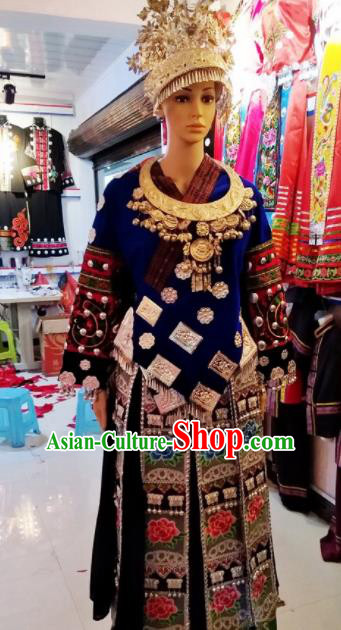 Chinese Traditional Miao Nationality Blue Dress Embroidered Costumes for Women