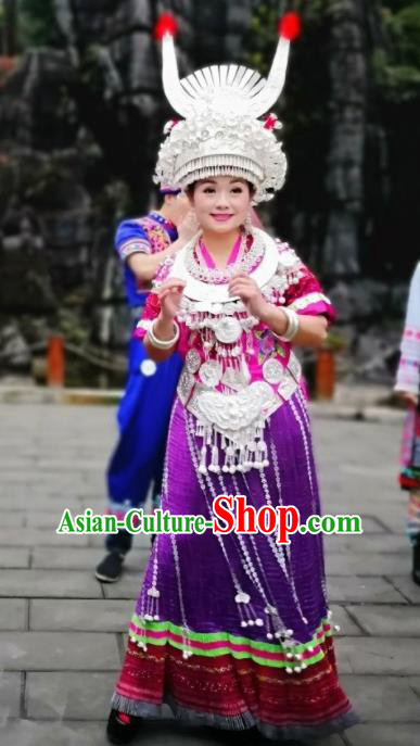 Chinese Traditional Miao Nationality Purple Dress Embroidered Wedding Costumes and Headpiece for Women