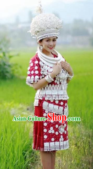 Chinese Traditional Miao Nationality Dance Red Dress Embroidered Wedding Costumes and Headpiece for Women