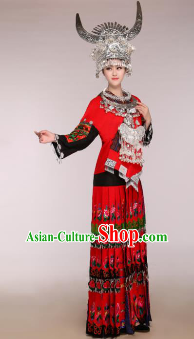 Traditional Chinese Miao Minority Dance Embroidered Red Costumes and Headwear for Women