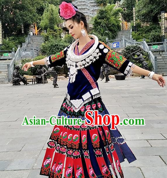 Traditional Chinese Miao Minority Embroidered Costumes and Headwear for Women