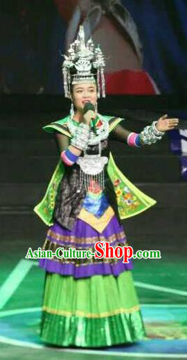 Traditional Chinese Miao Minority Embroidered Green Costumes and Headwear for Women