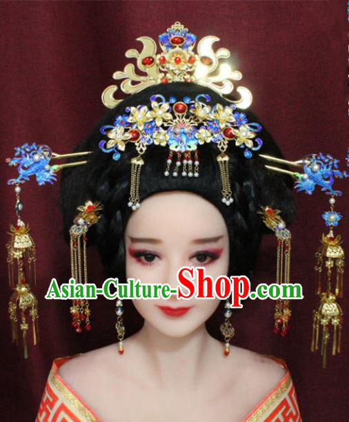 Chinese Ancient Hair Accessories Imperial Consort Blueing Phoenix Coronet Hairpins for Women