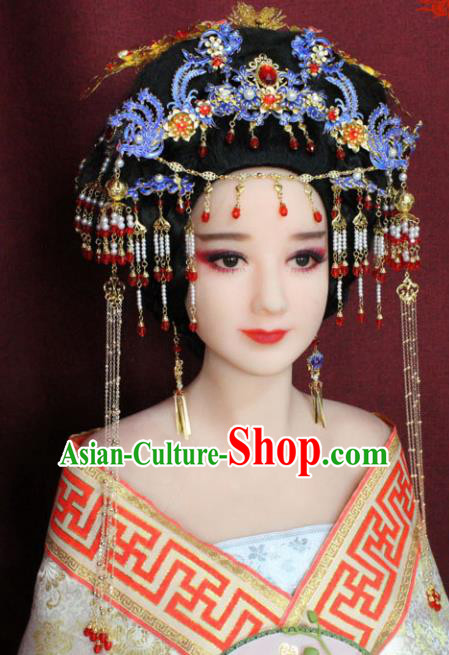Chinese Ancient Queen Hair Accessories Imperial Consort Blueing Phoenix Coronet Hairpins for Women