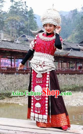 Traditional Chinese Miao Minority Costumes Hmong Female Embroidered Dress and Headpiece Complete Set