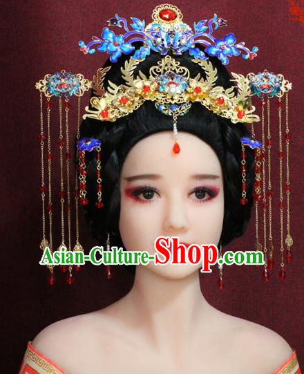 Chinese Ancient Imperial Consort Hair Accessories Tang Dynasty Empress Cloisonne Phoenix Coronet Hairpins for Women