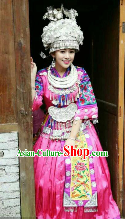 Traditional Chinese Miao Minority Wedding Costumes Hmong Embroidered Pink Dress and Sliver Headpiece for Women
