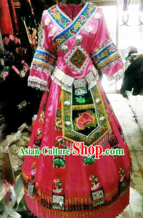Traditional Chinese Miao Minority Wedding Costumes Hmong Embroidered Pink Dress for Women