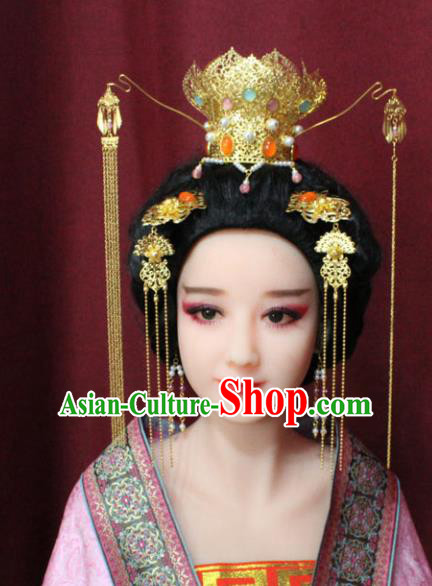 Chinese Traditional Handmade Hair Accessories Golden Lotus Coronet Hairpins for Women