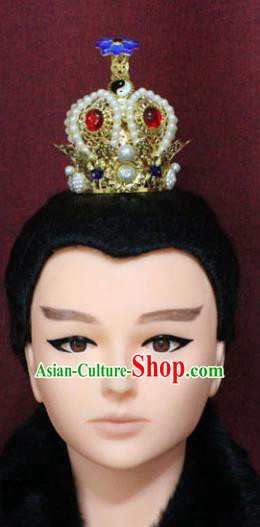 Chinese Traditional Swordsman Hair Accessories Ancient Han Dynasty Prince Pearls Hairdo Crown for Men