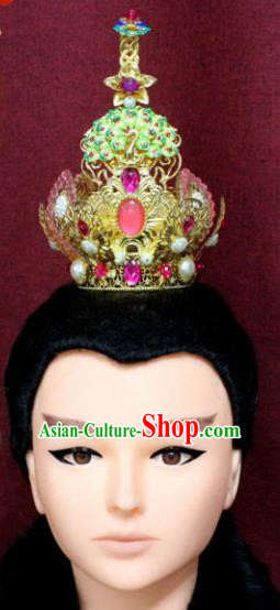 Chinese Traditional Swordsman Lotus Hair Accessories Ancient Han Dynasty Prince Taoist Hairdo Crown for Men