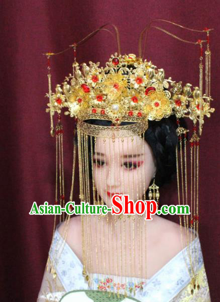 Chinese Ancient Empress Handmade Wedding Phoenix Coronet Hair Accessories Hairpins for Women