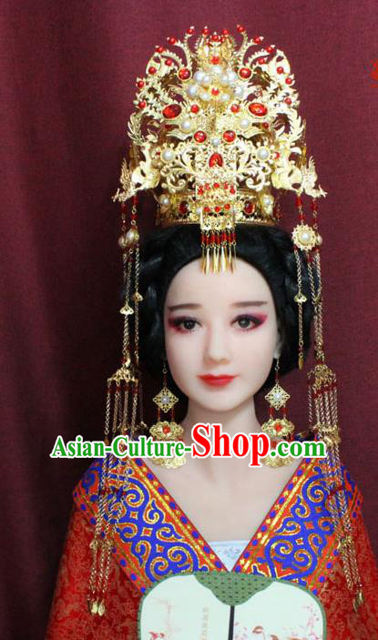 Chinese Ancient Hair Accessories Ming Dynasty Empress Phoenix Coronet Hairpins for Women