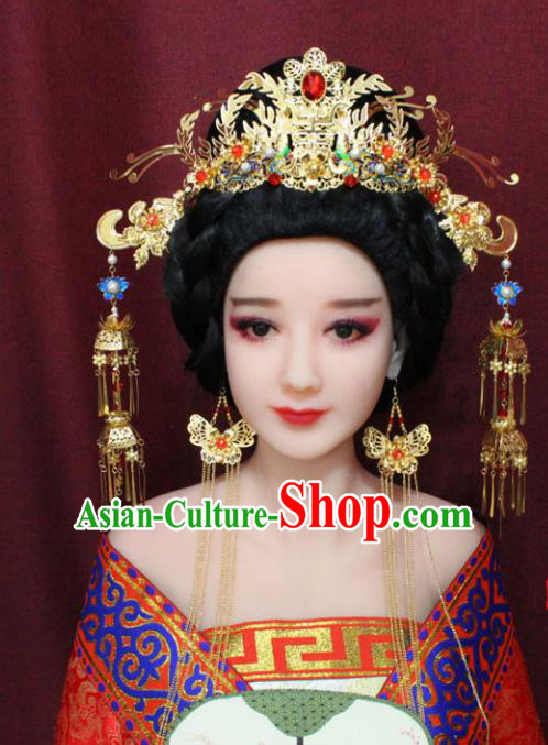 Chinese Traditional Handmade Hair Accessories Ancient Phoenix Coronet Hairpins for Women