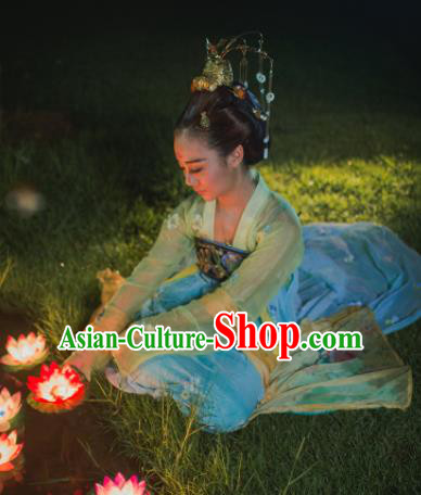 Chinese Ancient Tang Dynasty Imperial Consort Hanfu Dress Embroidered Costumes for Women