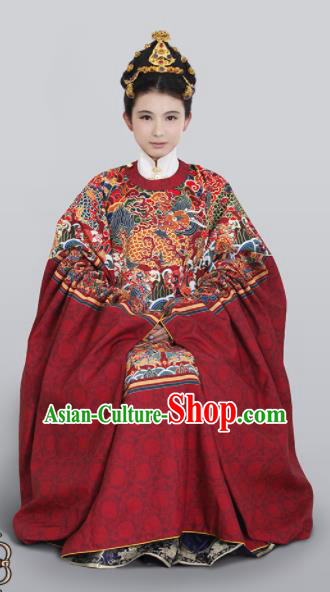 Chinese Ancient Ming Dynasty Imperial Empress Hanfu Dress Embroidered Costumes for Women