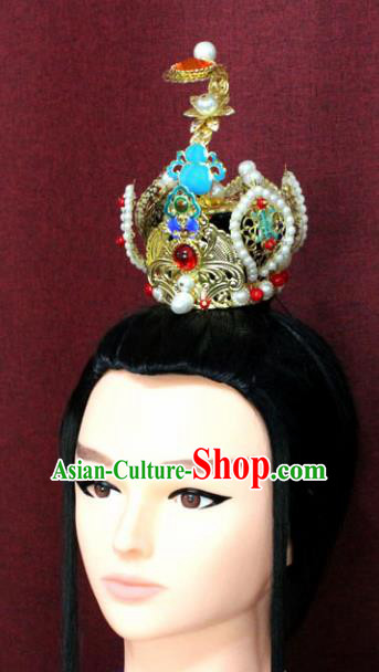Chinese Traditional Tang Dynasty Swordsman Jewel Hairdo Crown Ancient Prince Hair Accessories for Men