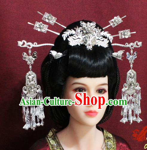 Chinese Handmade Phoenix Coronet Hairpins Ancient Queen Hair Accessories for Women