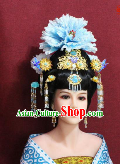 Chinese Handmade Imperial Consort Phoenix Coronet Blue Peony Hairpins Ancient Peri Hair Accessories for Women