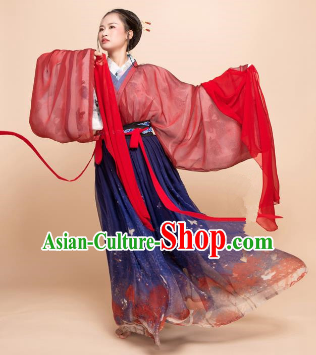 Traditional Chinese Ancient Jin Dynasty Princess Embroidered Costumes for Women