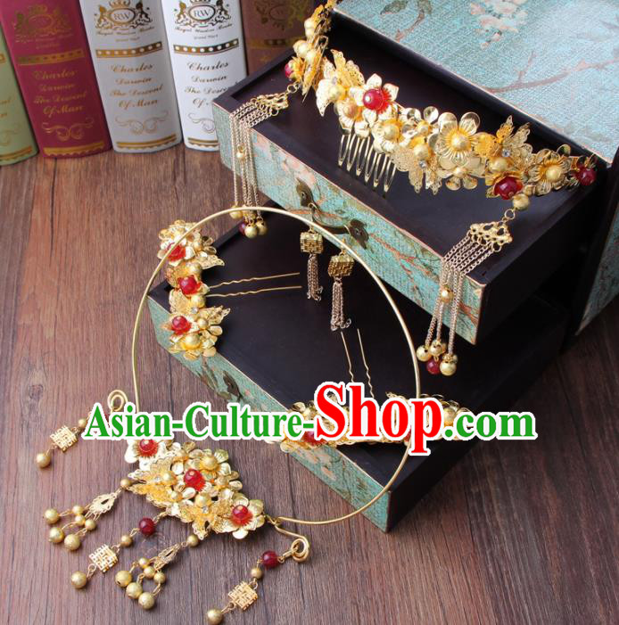 Chinese Ancient Bride Phoenix Coronet XiuHe Suit Hair Accessories Hanfu Handmade Hairpins Complete Set for Women