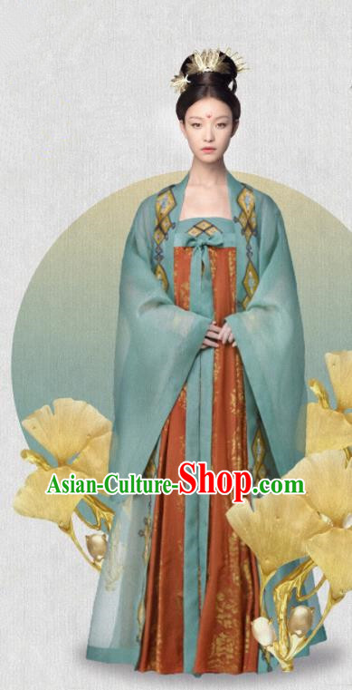 Ancient Drama The Rise of Phoenixes Hanfu Dress Chinese Tang Dynasty Princess Costumes and Headpiece for Women