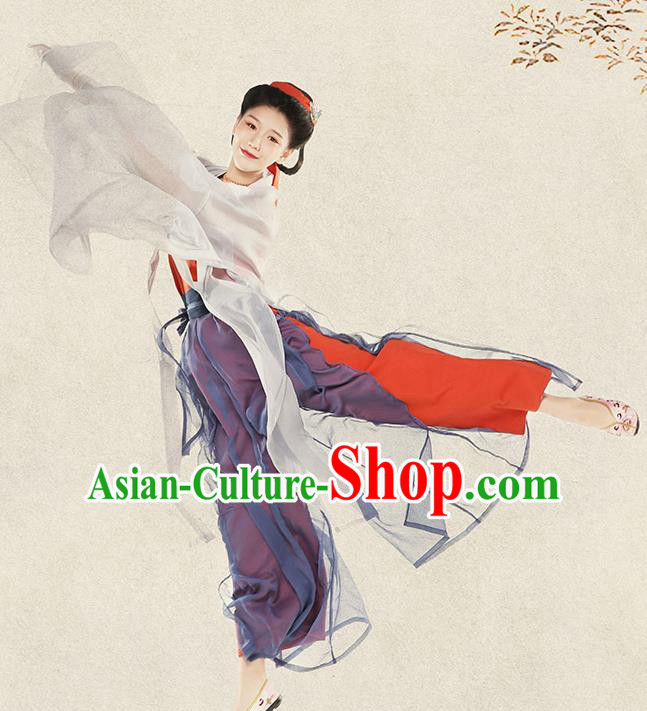 Top Grade Chinese Ancient Costumes Song Dynasty Young Lady Silk Hanfu Dress for Women