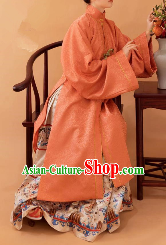 Top Grade Chinese Ancient Ming Dynasty Empress Hanfu Dress Long Cloak and Horse-Face Skirt for Women