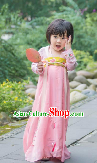 Traditional Chinese Ancient Costumes Tang Dynasty Princess Pink Hanfu Dress for Kids
