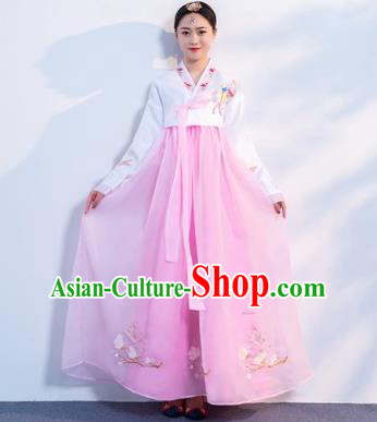 Asian Korean Traditional Costumes Korean Hanbok White Embroidered Blouse and Pink Skirt for Women