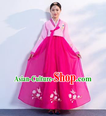 Asian Korean Traditional Costumes Korean Hanbok Pink Embroidered Blouse and Rosy Skirt for Women