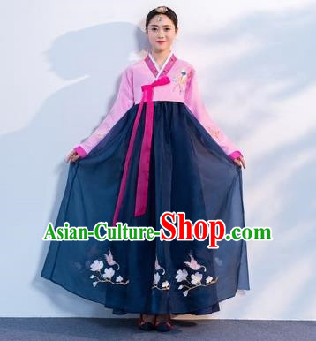 Asian Korean Traditional Costumes Korean Hanbok Pink Embroidered Blouse and Navy Skirt for Women