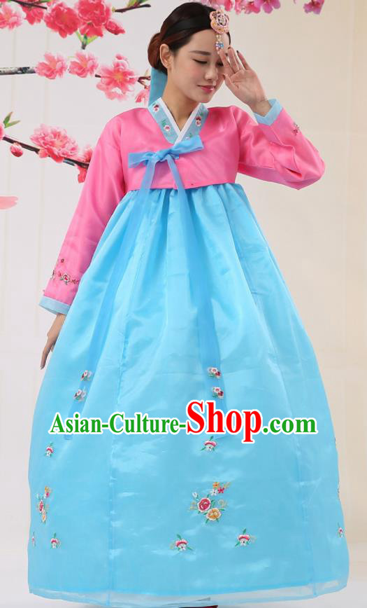 Korean Traditional Costumes Asian Korean Palace Hanbok Bride Embroidered Pink Blouse and Blue Skirt for Women