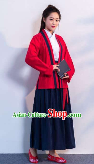 Traditional Chinese Ancient Hanfu Dress Song Dynasty Female Scholar Red Costumes for Women