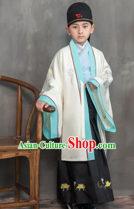 Traditional Chinese Ancient Scholar White Costumes Han Dynasty Minister Clothing for Kids