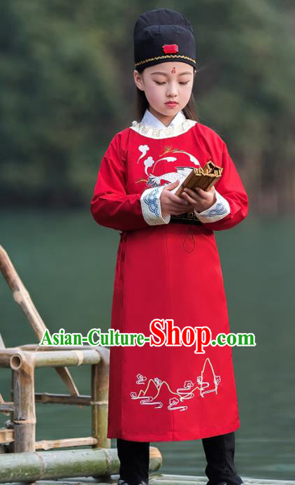 Traditional Chinese Ancient Scholar Costumes Tang Dynasty Swordsman Red Embroidered Robe for Kids