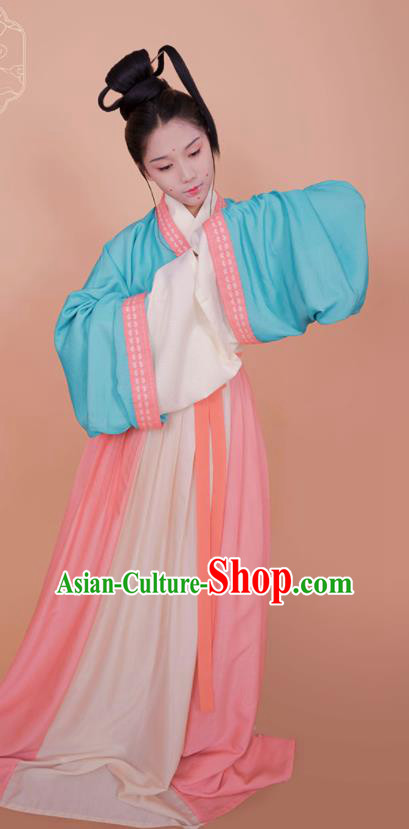 Top Grade Chinese Ancient Palace Lady Costumes Jin Dynasty Princess Hanfu Dress for Women