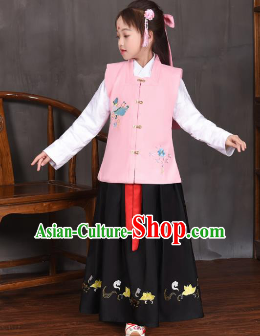 Traditional Chinese Ancient Ming Dynasty Princess Costume Pink Vest for Kids