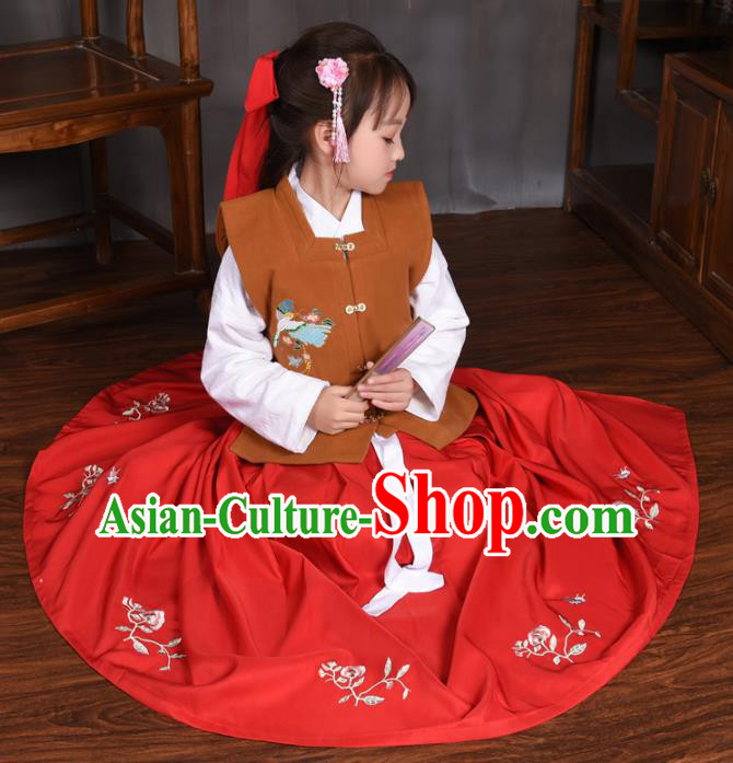 Traditional Chinese Ancient Ming Dynasty Princess Costume Brown Vest for Kids