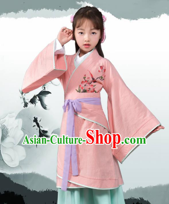 Traditional Chinese Ancient Han Dynasty Princess Costume Pink Curving-front Robe for Kids