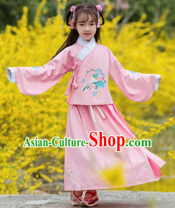 Traditional Chinese Ancient Ming Dynasty Princess Costumes Pink Blouse and Skirt for Kids
