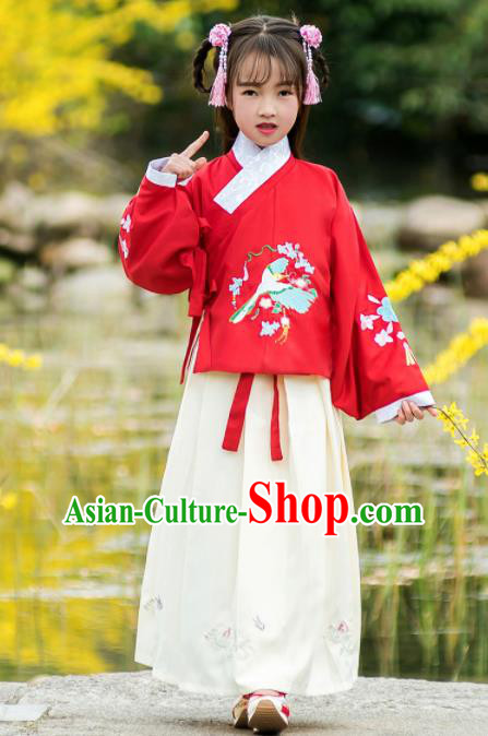 Traditional Chinese Ancient Ming Dynasty Princess Costumes Red Blouse and White Skirt for Kids