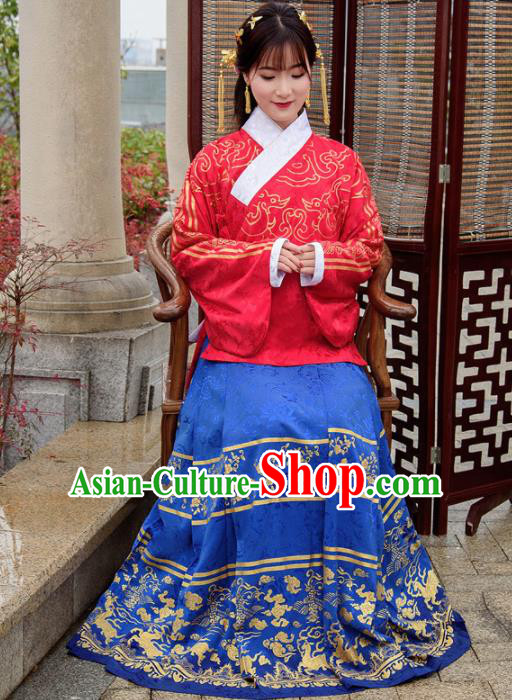 Traditional Chinese Ancient Hanfu Dress Ming Dynasty Princess Costumes Red Blouse and Blue Skirt for Women