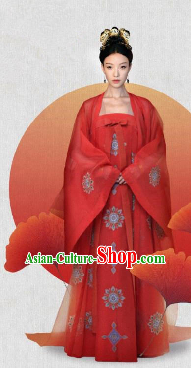 The Rise of Phoenixes Traditional Chinese Ancient Tang Dynasty Imperial Consort Costume Red Hanfu Dress for Women