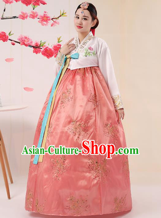 Korean Traditional Palace Costumes Asian Korean Hanbok Bride Embroidered White Blouse and Pink Skirt for Women