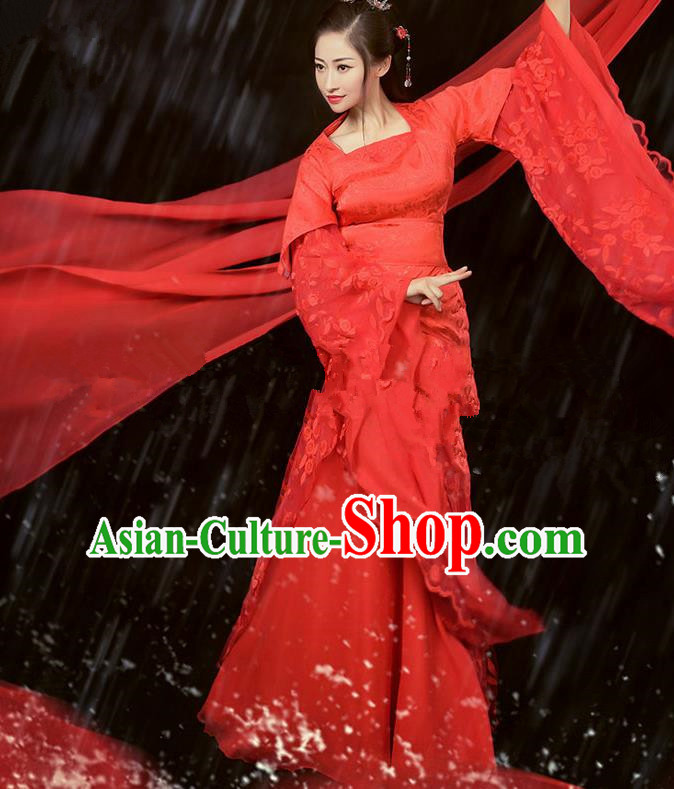 Chinese Ancient Cosplay Peri Costumes Traditional Tang Dynasty Princess Red Hanfu Dress for Women